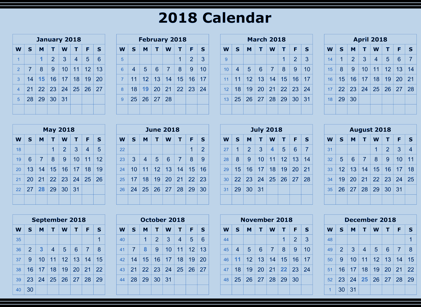 Annual calendar 2018 | 2018 Calendar printable for Free ...