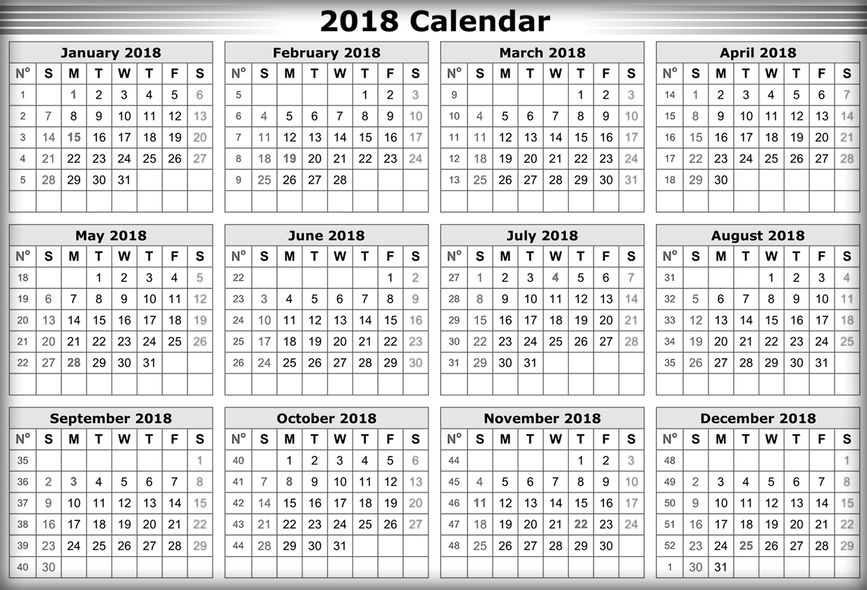 2018 Calendar Printable Free : Download calendar printable for free india