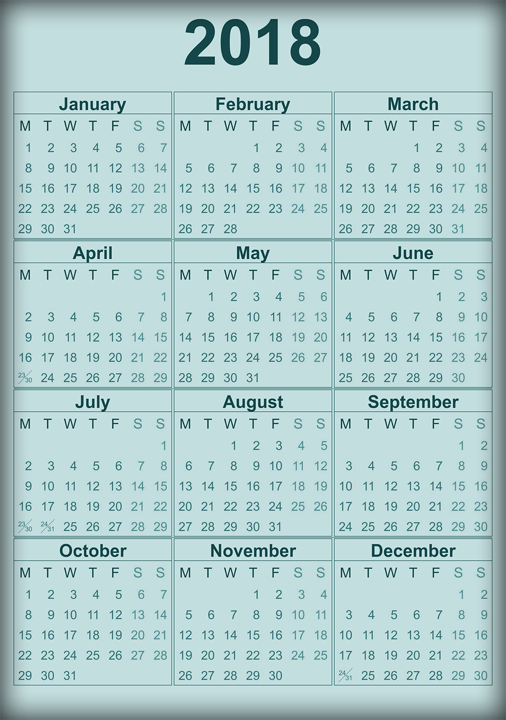 yearly calendar 2018 and 2018