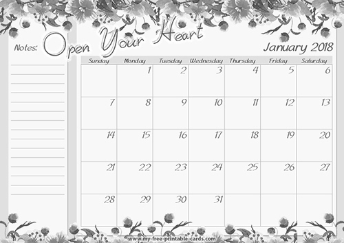 Download January 2018 monthly calendar printable - 2018 Calendar ...