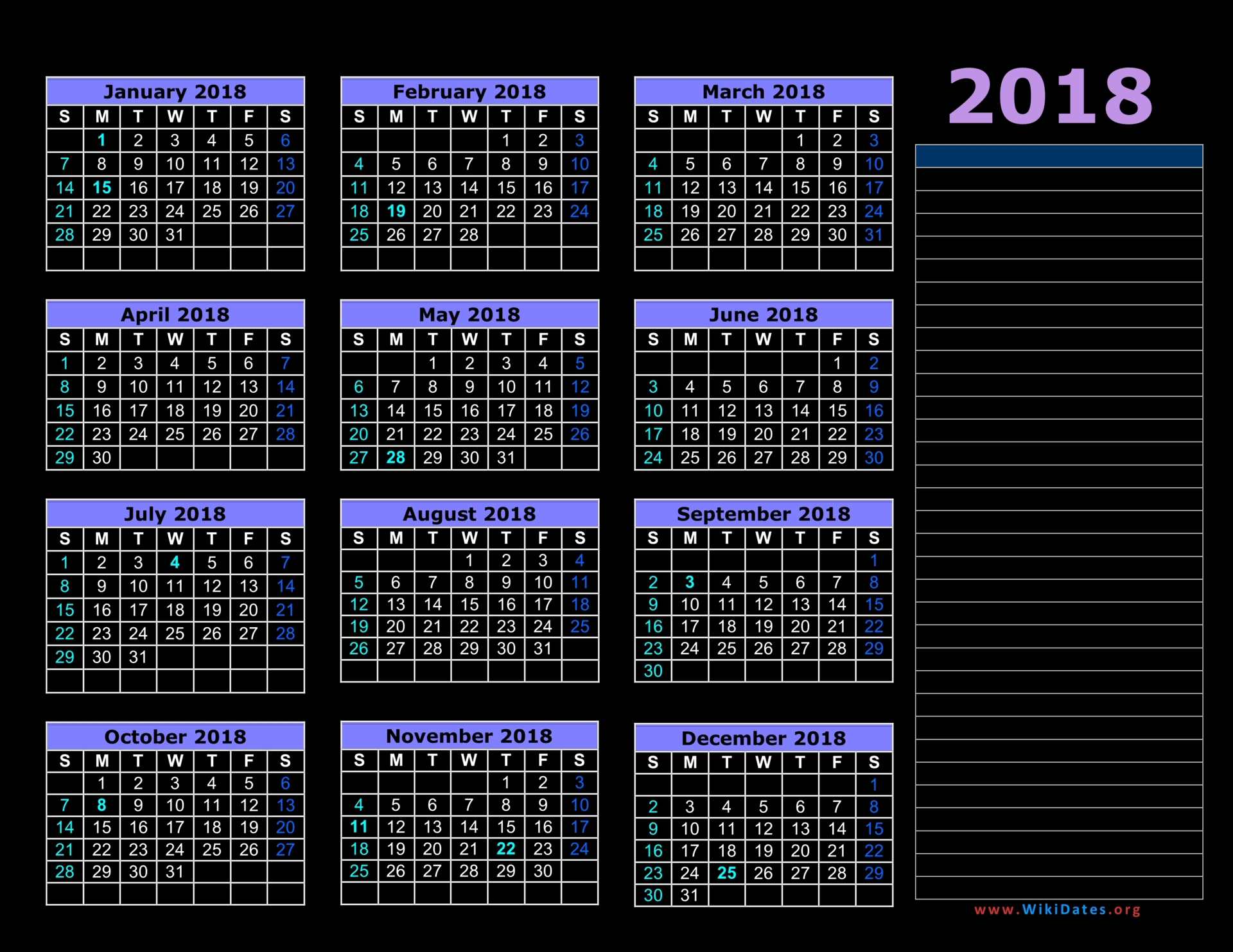 2018 calendar with Indian holidays list - 2018 Calendar printable ...