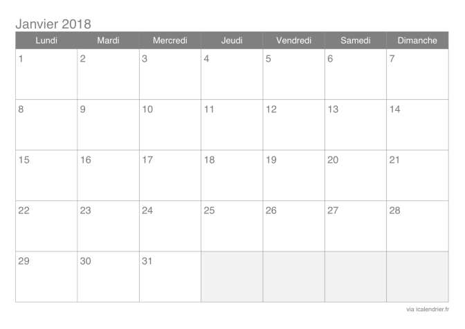 2018 calendrier | 2018 Calendar printable for Free ...