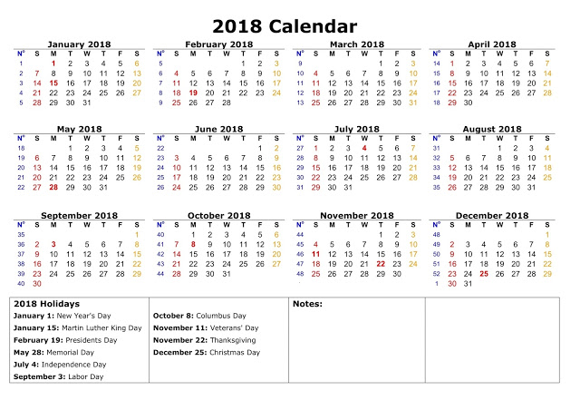 2018 Calendar Holiday Usa – Merry Christmas And Happy New Year 2018
