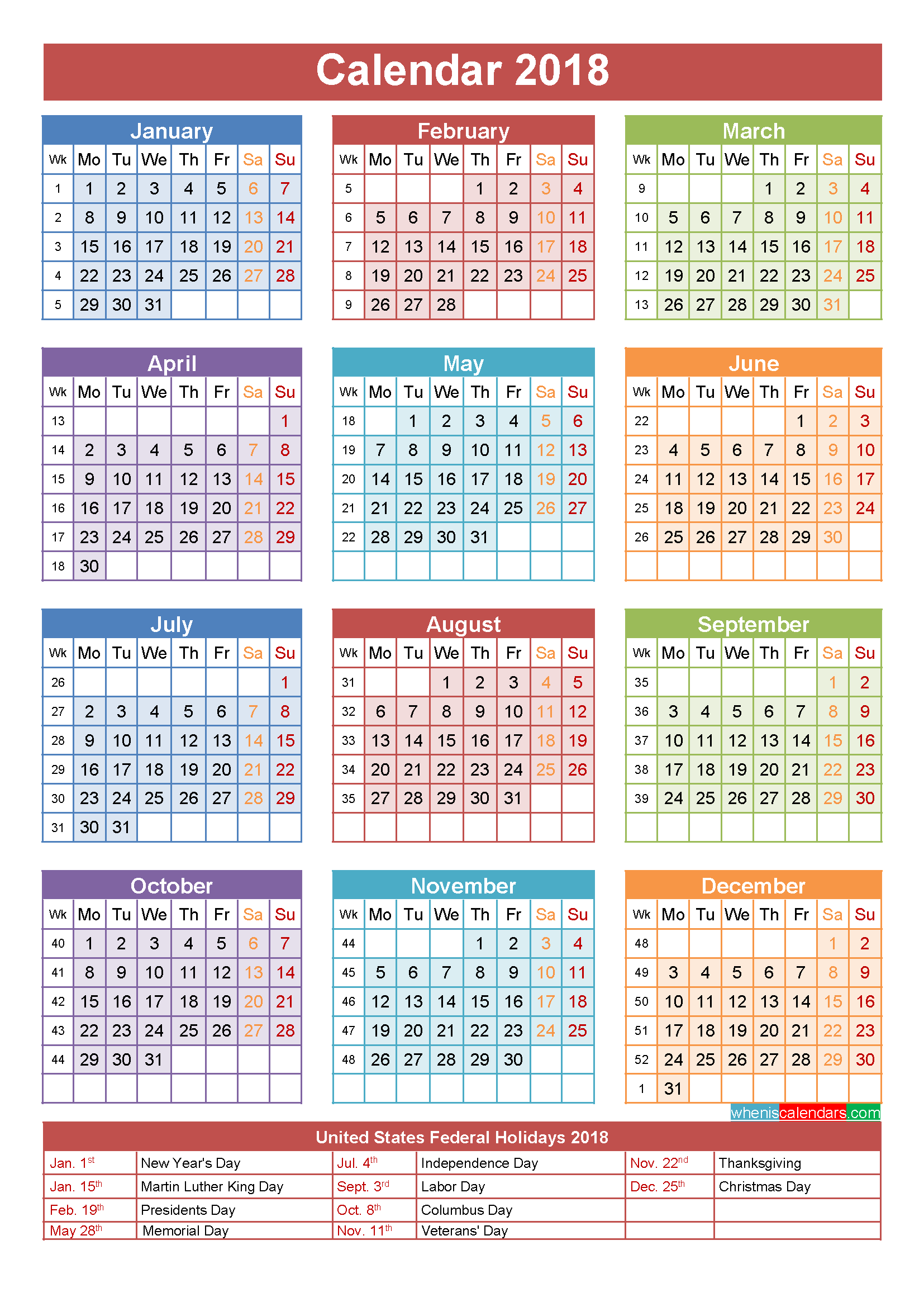 Calendar 2018 india - 2018 Calendar printable for Free Download ...