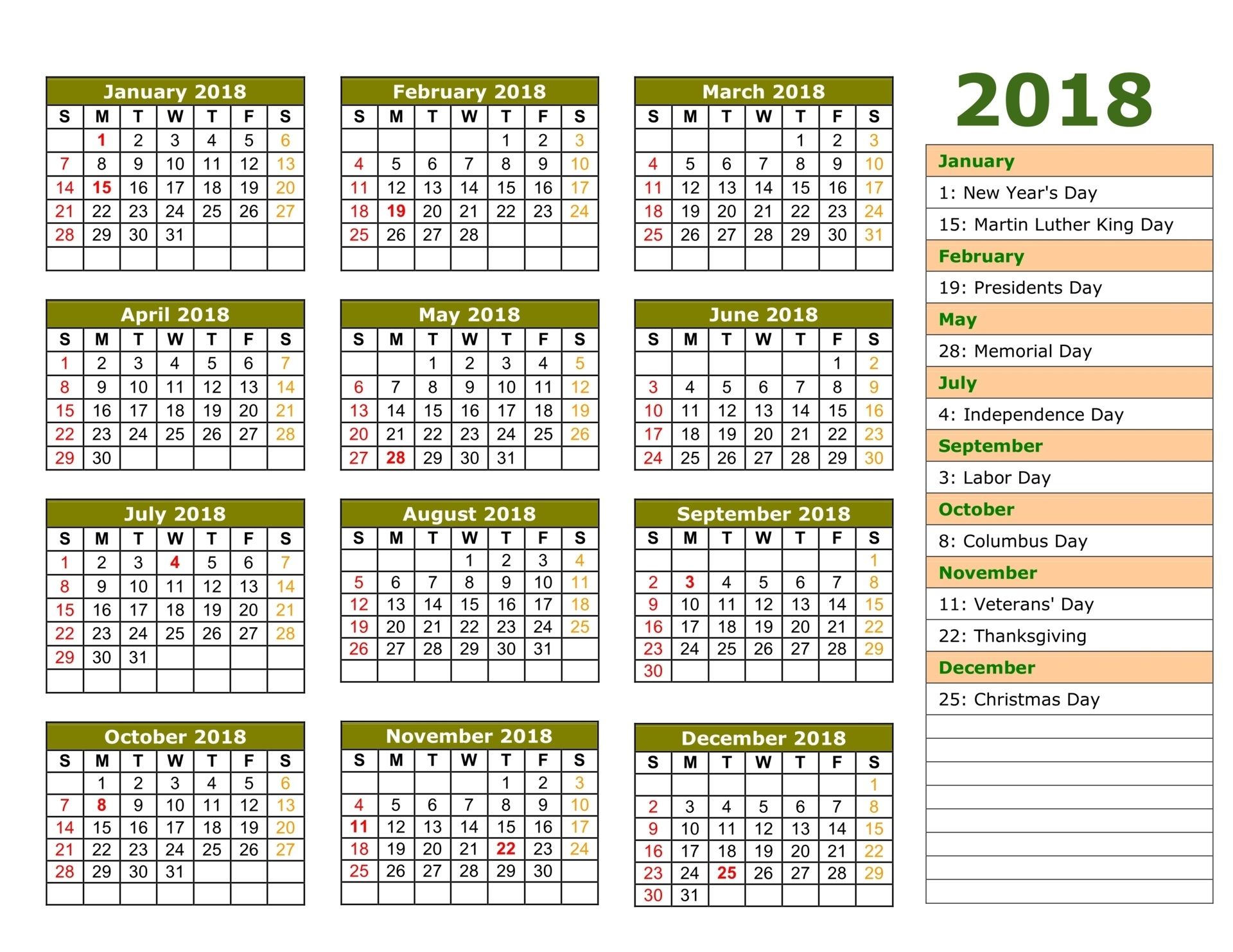 2018 Calendar India NEW – 2018 monthly calendars