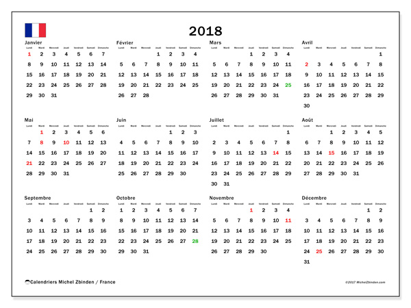 2018 calendrier (5) | 2018 Calendar printable for Free ...