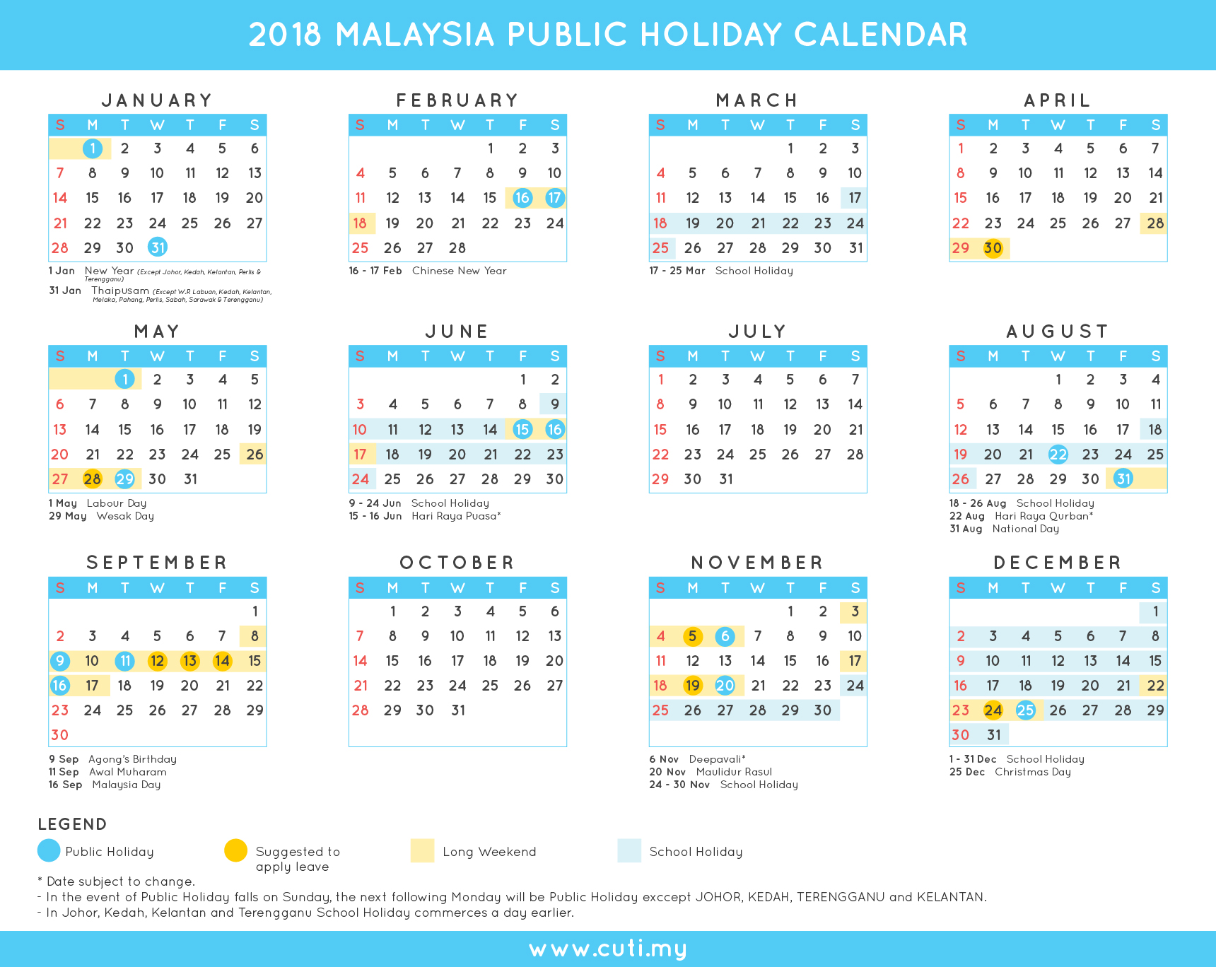 Malaysia calendar 2018 with holiday dates marked - 2018 ...