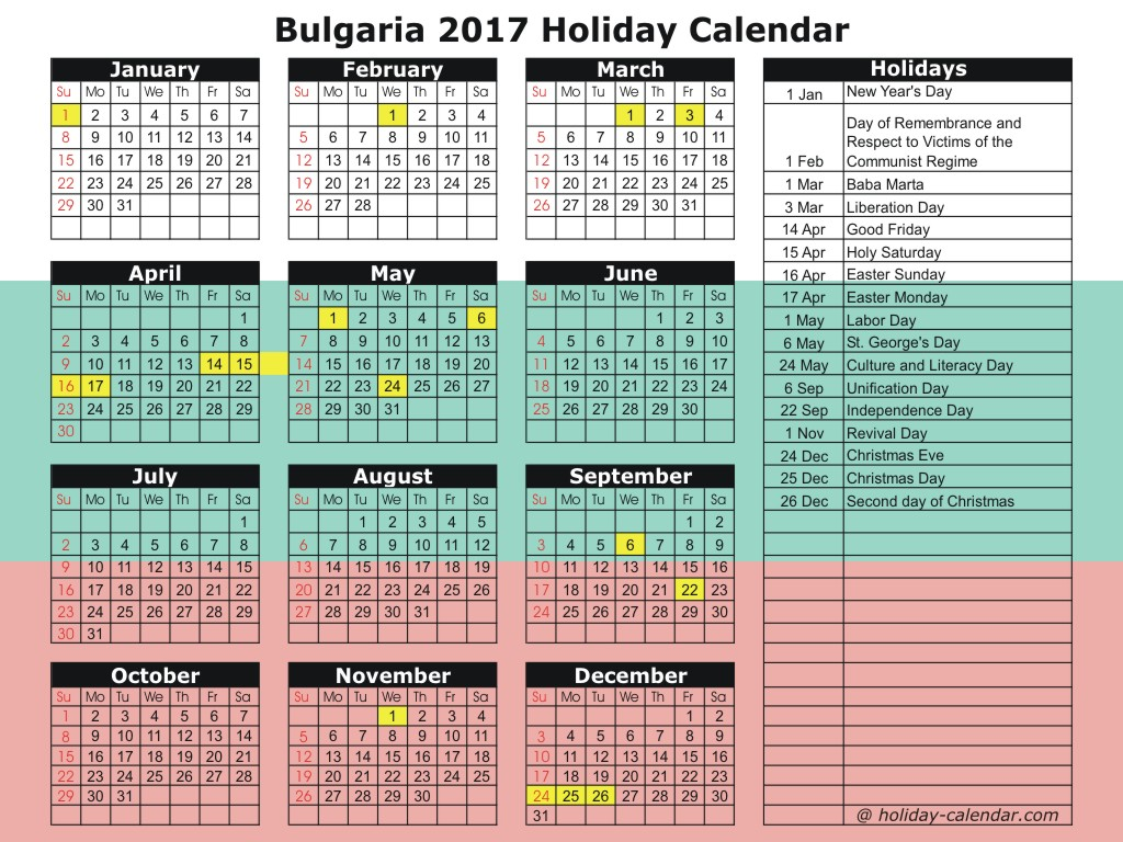 Bulgaria 2018 calendar with holidays list - 2018 Calendar ...