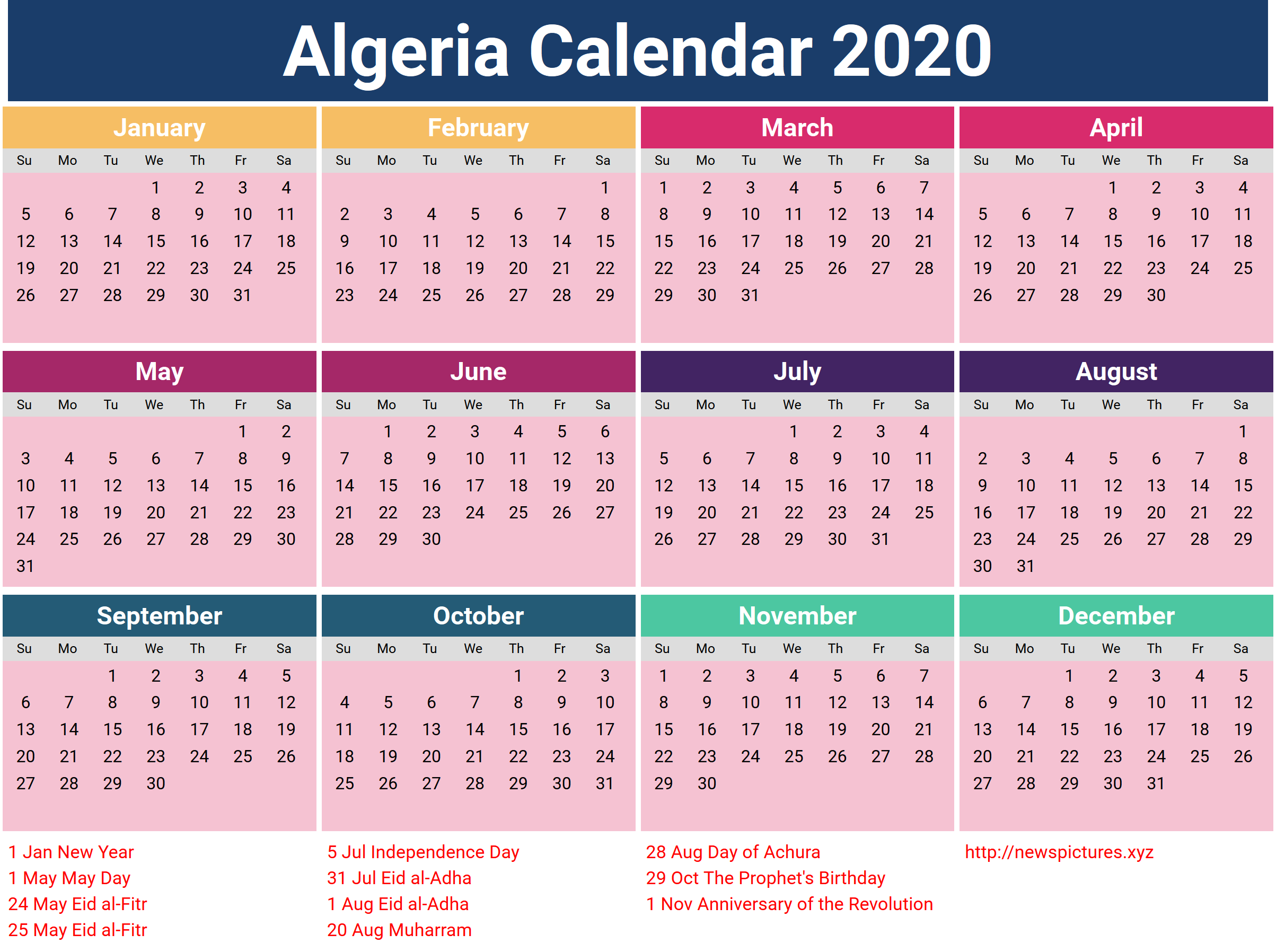 Download Algeria calendar 2018 free - 2018 Calendar ...