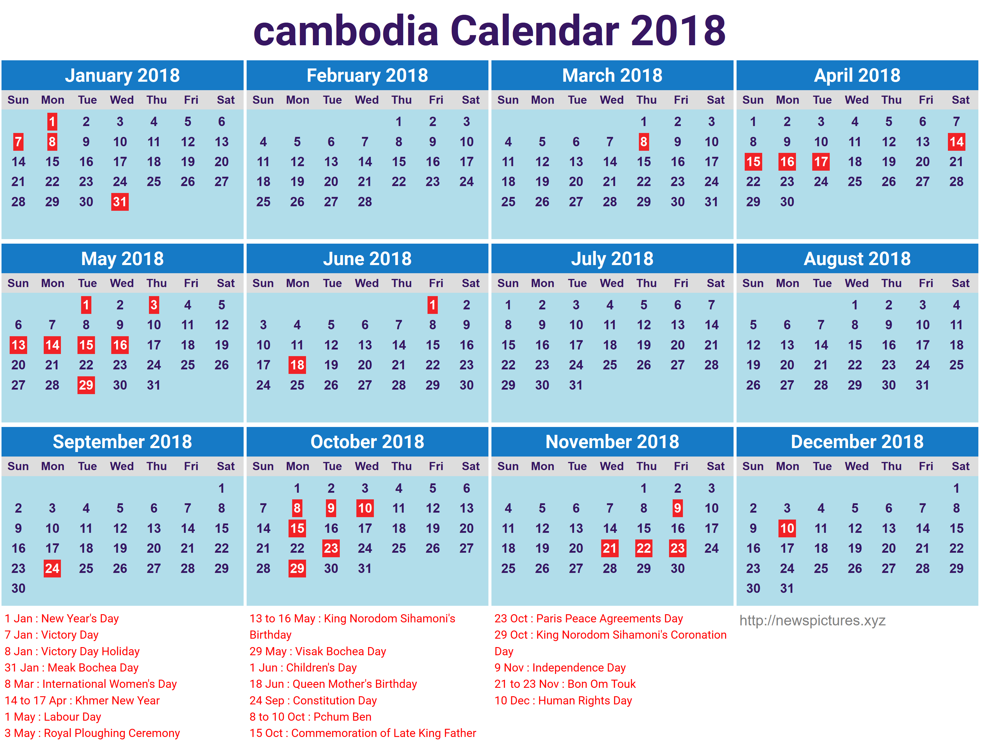 Khmer Monthly Calendar : Download cambodia calendar printable