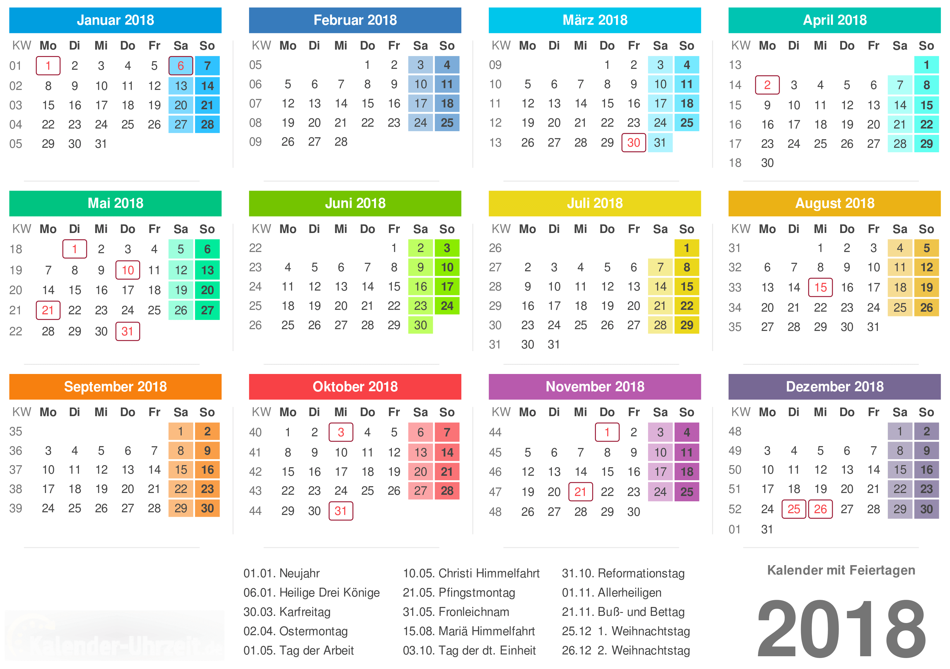 Kalender 2018 mit kw 2018 calendar printable for free download kalender 2018 mit kw stopboris Gallery
