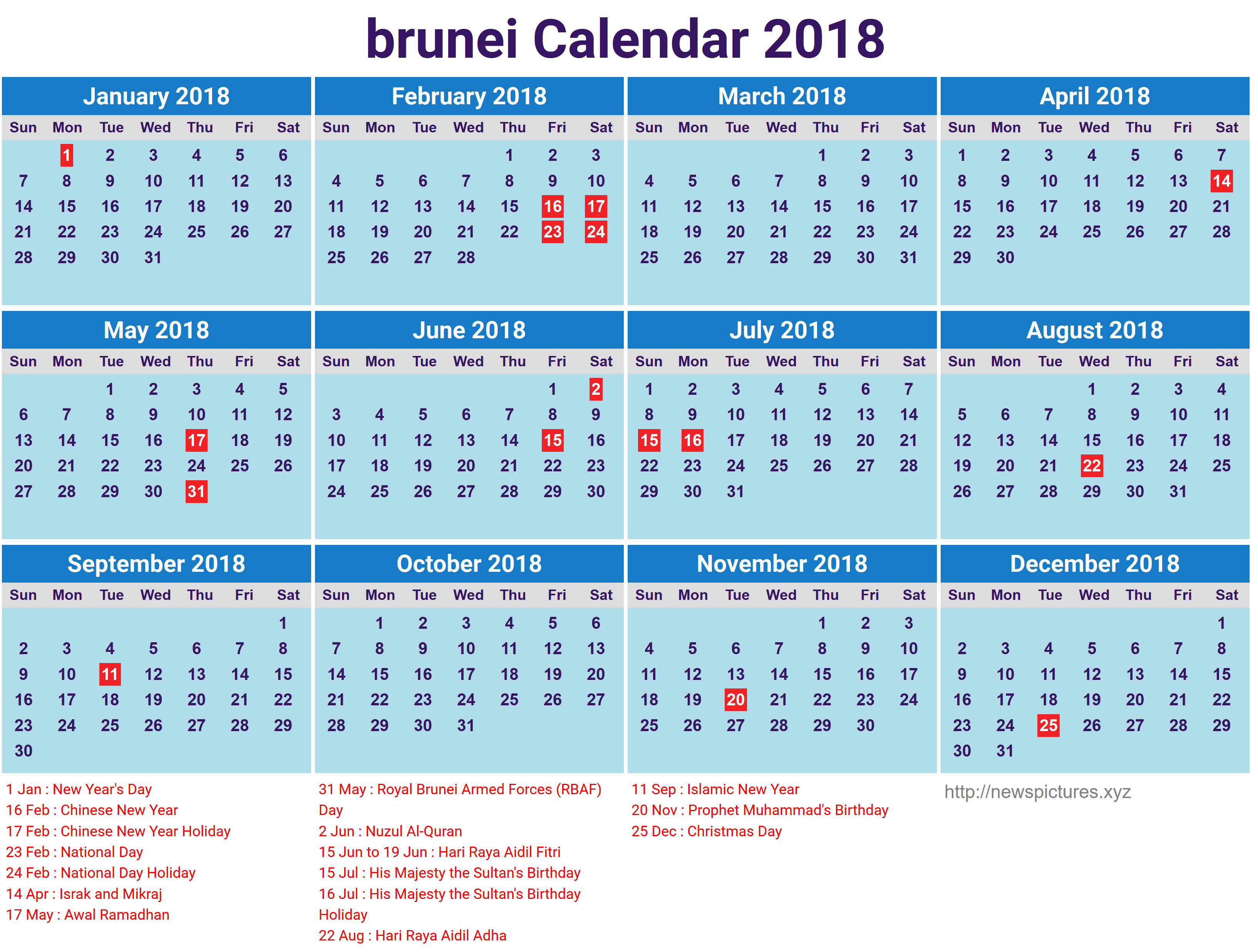 School Calendar 2018 Brunei : Printable brunei calendar with holidays list