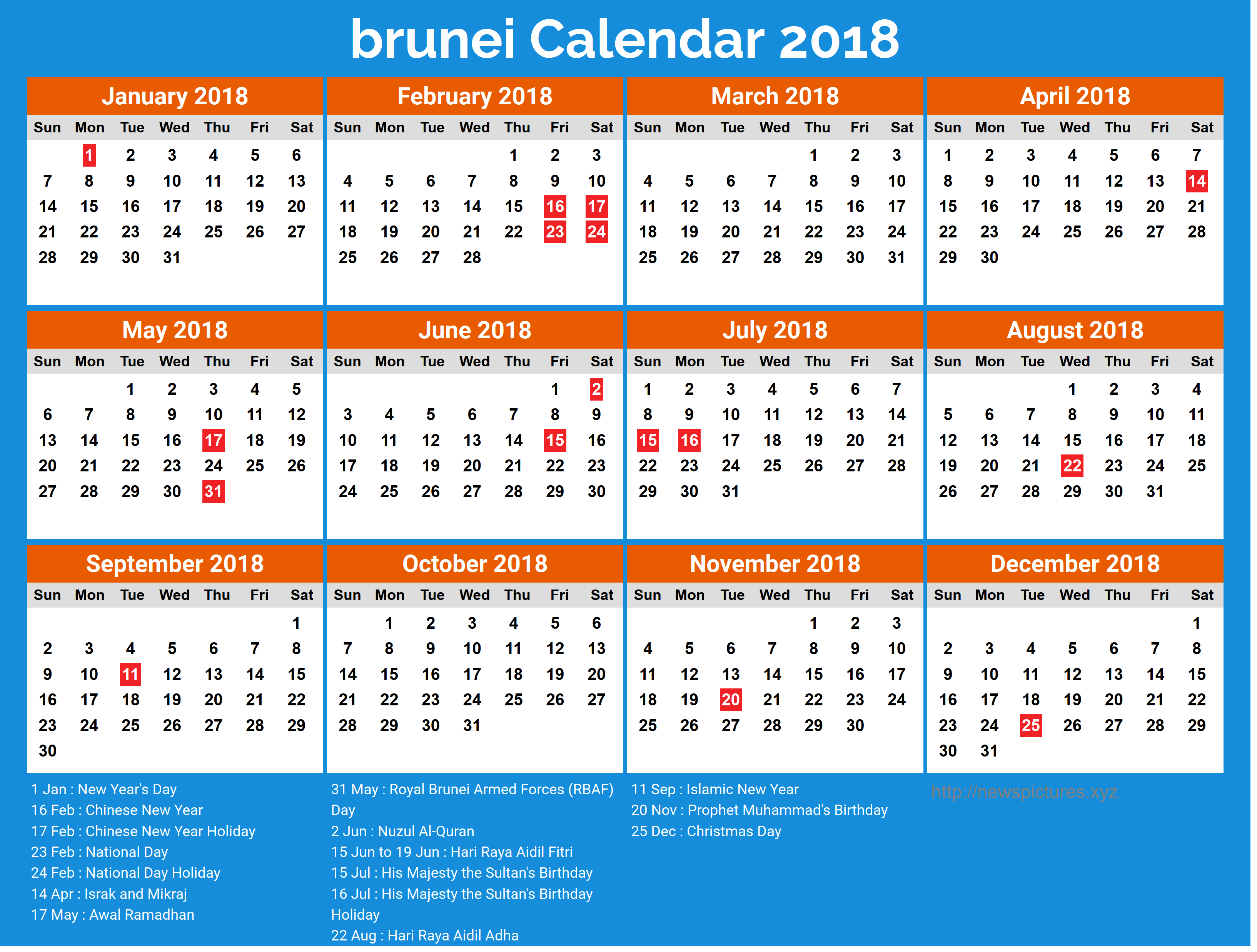 School Calendar 2018 Brunei : Yearly brunei calendar with holidays list