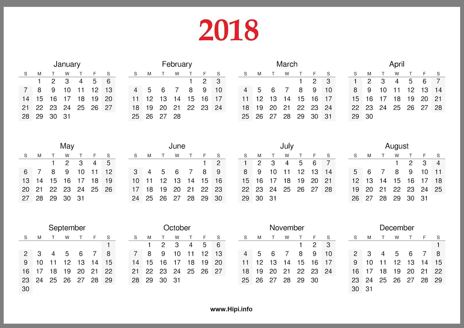 2018 Calendar Printable For Free Download India USA UK