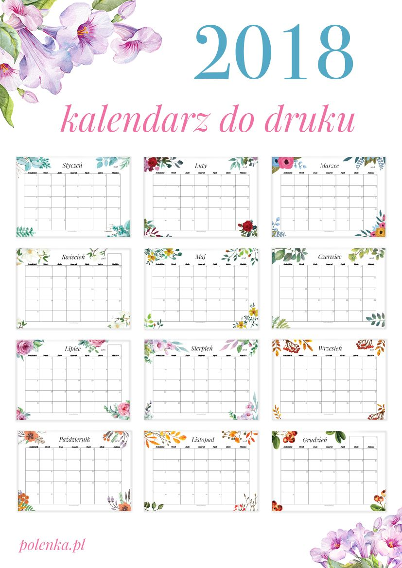 Kalendarz 2018 (2) | 2018 Calendar printable for Free ...