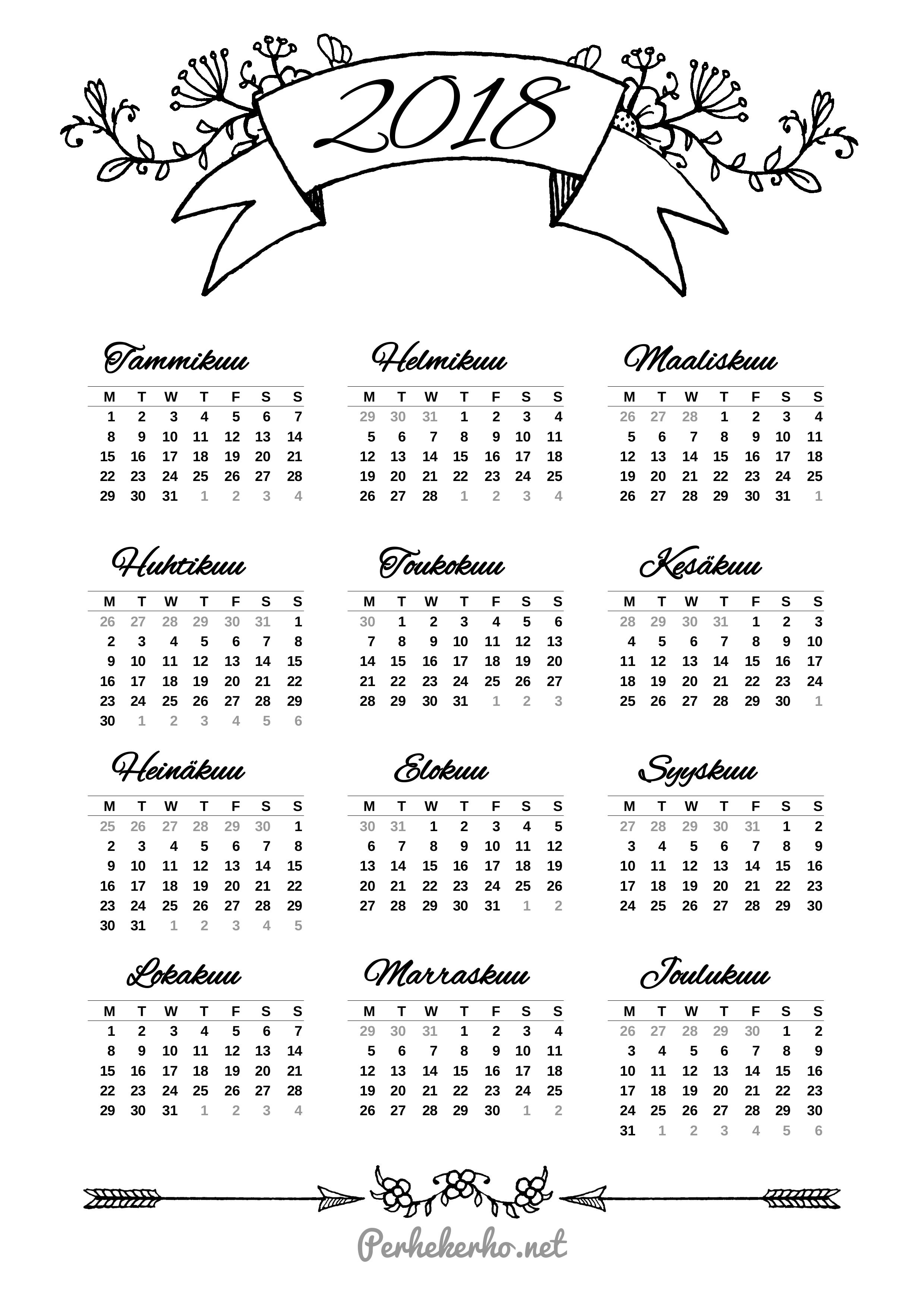 Tulostettava kalenteri 2018 | 2018 Calendar printable for Free Download India USA UK